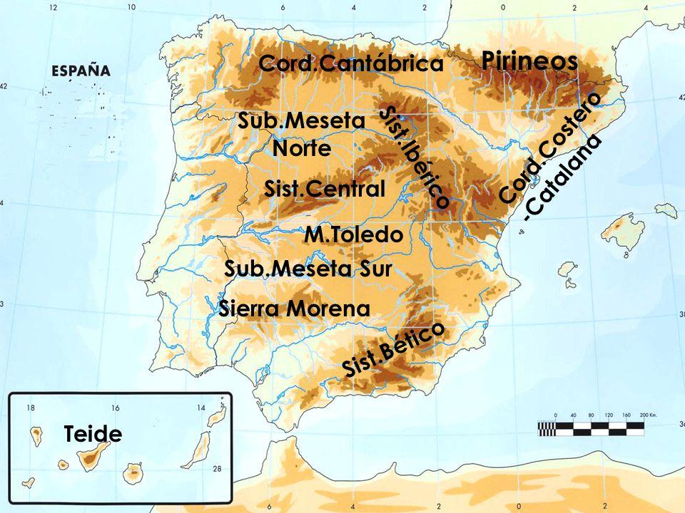 Pirineos Cord.Cantábrica Cord.Costero -Catalana Sist.Ibérico Sist.Central Sist.Bético Sierra Morena M.Toledo Teide Sub.Meseta Norte Sub.Meseta Sur