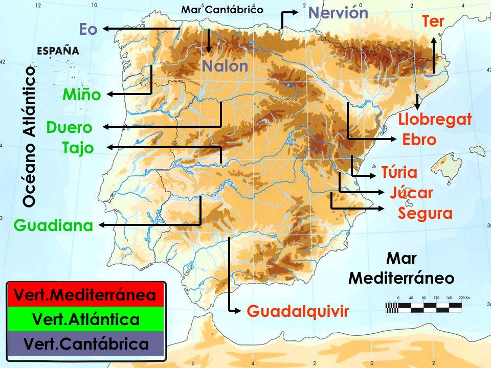 Ebro Duero Tajo Guadiana Guadalquivir Ter Miño Llobregat Túria Segura Júcar Eo Vert.Mediterránea Vert.Cantábrica Vert.Atlántica Nalón Nervión Océano A