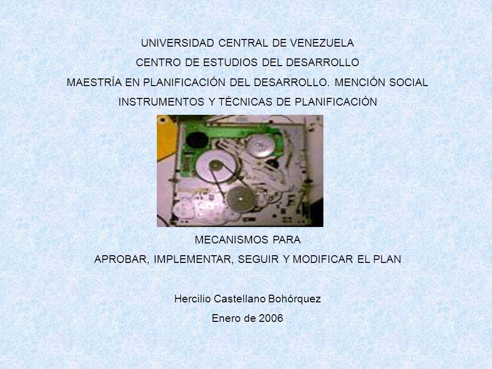 UNIVERSIDAD CENTRAL DE VENEZUELA CENTRO DE ESTUDIOS DEL DESARROLLO MAESTRÍA EN PLANIFICACIÓN DEL DESARROLLO.