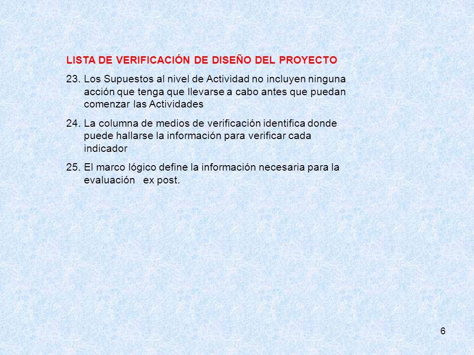 6 LISTA DE VERIFICACIÓN DE DISEÑO DEL PROYECTO 23.Los Supuestos al nivel de Actividad no incluyen ninguna acción que tenga que llevarse a cabo antes q