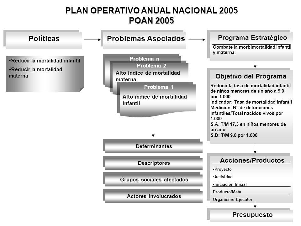 POAN 2005 PLAN OPERATIVO ANUAL NACIONAL 2005 POAN 2005 PolíticasProblemas Asociados Programa Estratégico Combate la morbimortalidad infantil y materna
