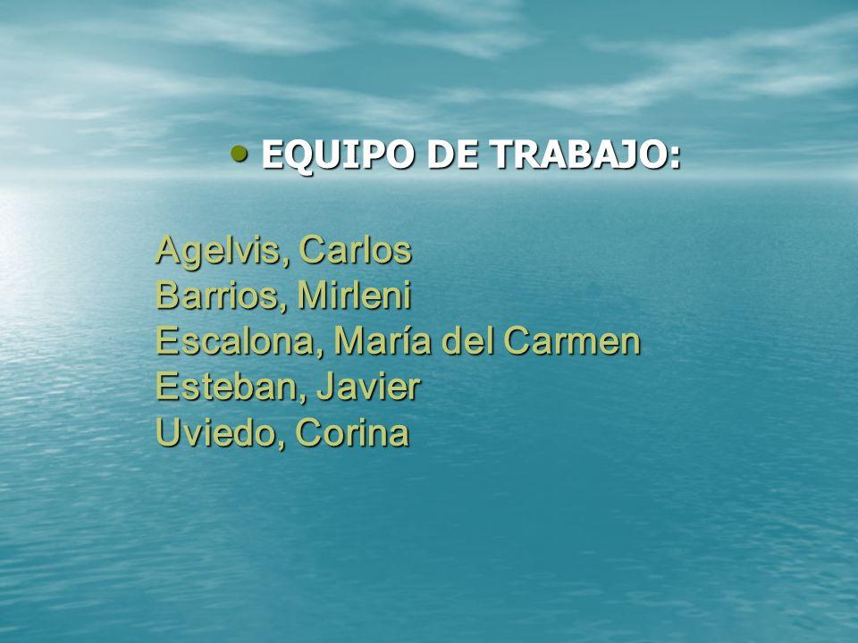 Agelvis, Carlos Barrios, Mirleni Escalona, María del Carmen Esteban, Javier Uviedo, Corina EQUIPO DE TRABAJO: