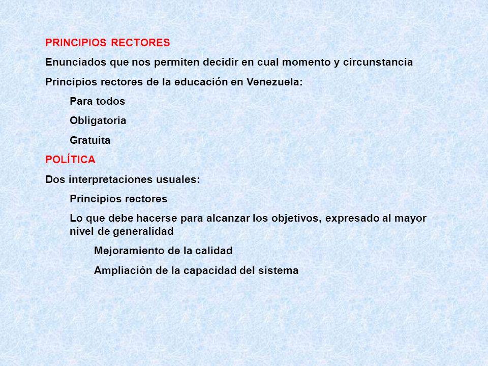 PRINCIPIOS RECTORES Enunciados que nos permiten decidir en cual momento y circunstancia Principios rectores de la educación en Venezuela: Para todos O