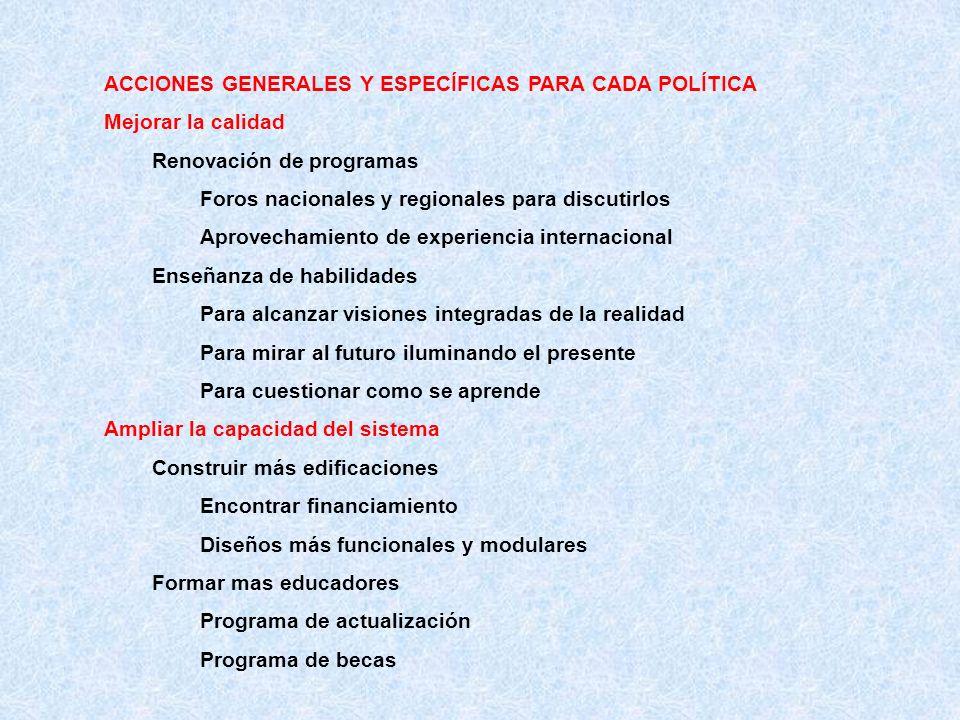 ACCIONES GENERALES Y ESPECÍFICAS PARA CADA POLÍTICA Mejorar la calidad Renovación de programas Foros nacionales y regionales para discutirlos Aprovech