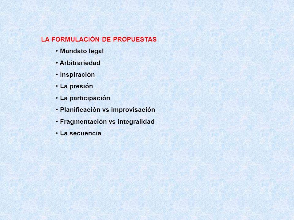 LA FORMULACIÓN DE PROPUESTAS Mandato legal Arbitrariedad Inspiración La presión La participación Planificación vs improvisación Fragmentación vs integralidad La secuencia