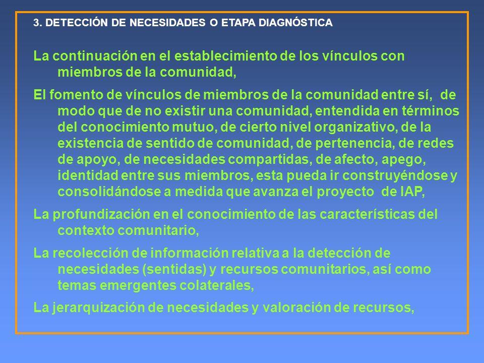 3. DETECCIÓN DE NECESIDADES O ETAPA DIAGNÓSTICA La continuación en el establecimiento de los vínculos con miembros de la comunidad, El fomento de vínc
