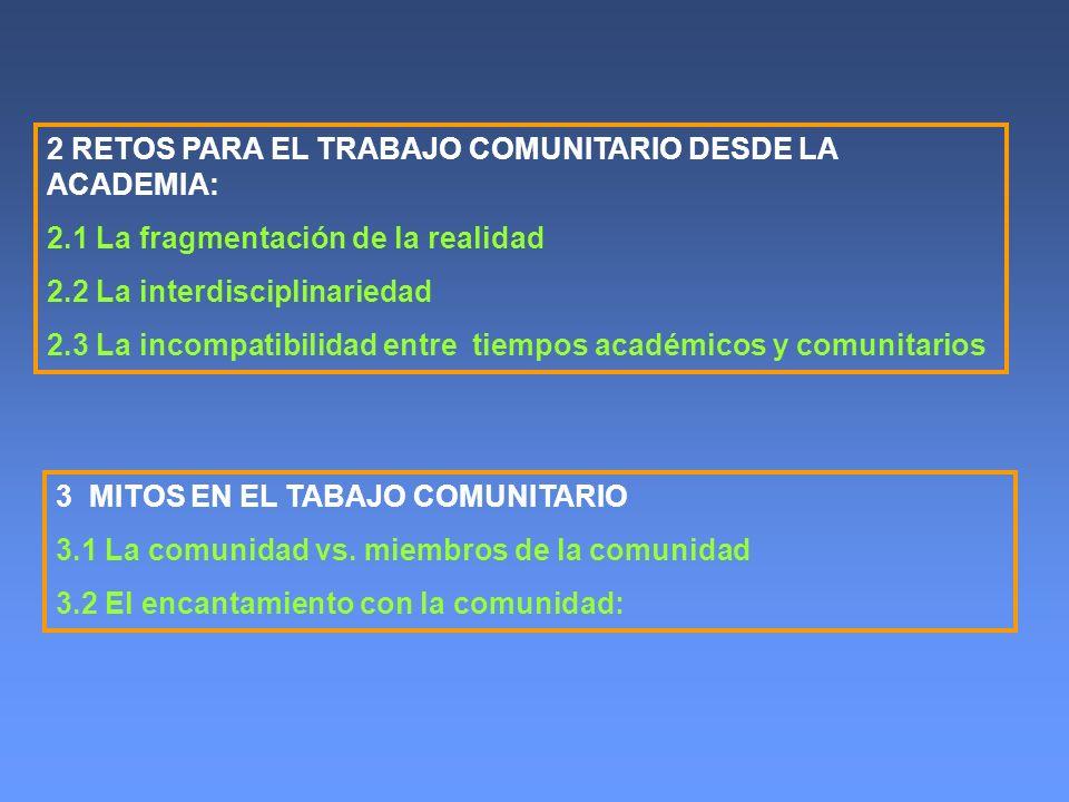 2 RETOS PARA EL TRABAJO COMUNITARIO DESDE LA ACADEMIA: 2.1 La fragmentación de la realidad 2.2 La interdisciplinariedad 2.3 La incompatibilidad entre