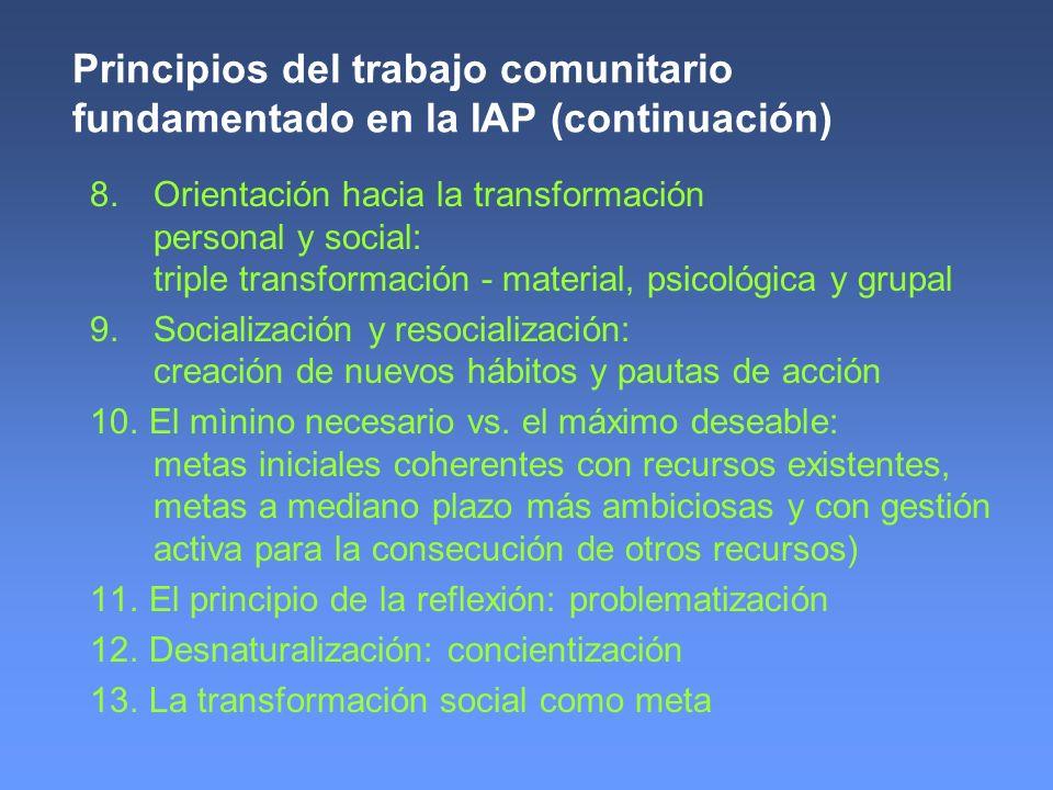 Principios del trabajo comunitario fundamentado en la IAP (continuación) 8. Orientación hacia la transformación personal y social: triple transformaci