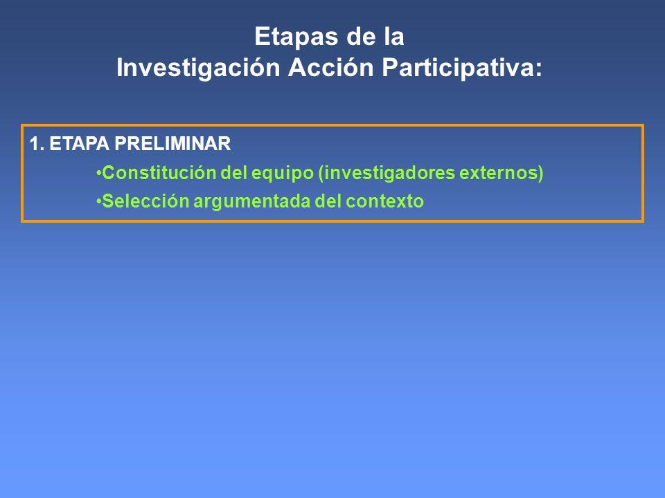 Etapas de la Investigación Acción Participativa: 1. ETAPA PRELIMINAR Constitución del equipo (investigadores externos) Selección argumentada del conte