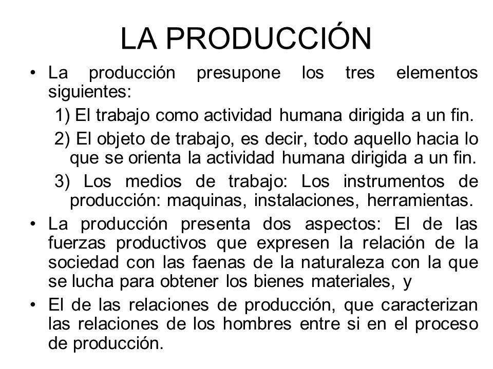 LA PRODUCCIÓN La producción presupone los tres elementos siguientes: 1) El trabajo como actividad humana dirigida a un fin. 2) El objeto de trabajo, e
