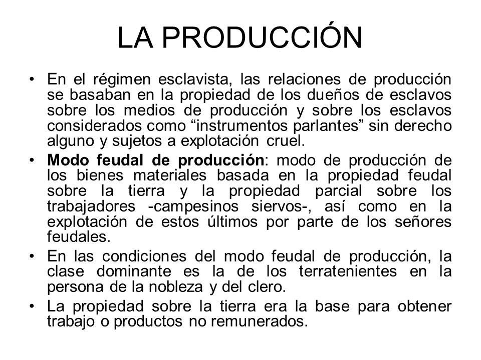 LA PRODUCCIÓN En el régimen esclavista, las relaciones de producción se basaban en la propiedad de los dueños de esclavos sobre los medios de producci