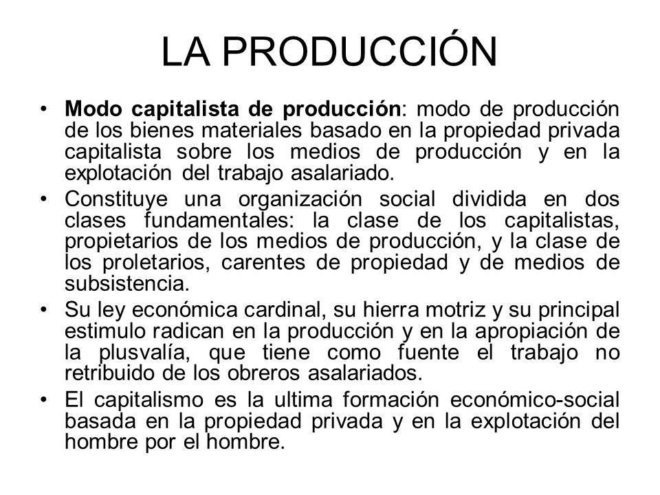LA PRODUCCIÓN Modo capitalista de producción: modo de producción de los bienes materiales basado en la propiedad privada capitalista sobre los medios