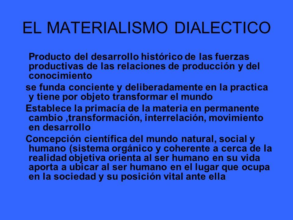 EL MATERIALISMO DIALECTICO Producto del desarrollo histórico de las fuerzas productivas de las relaciones de producción y del conocimiento se funda co