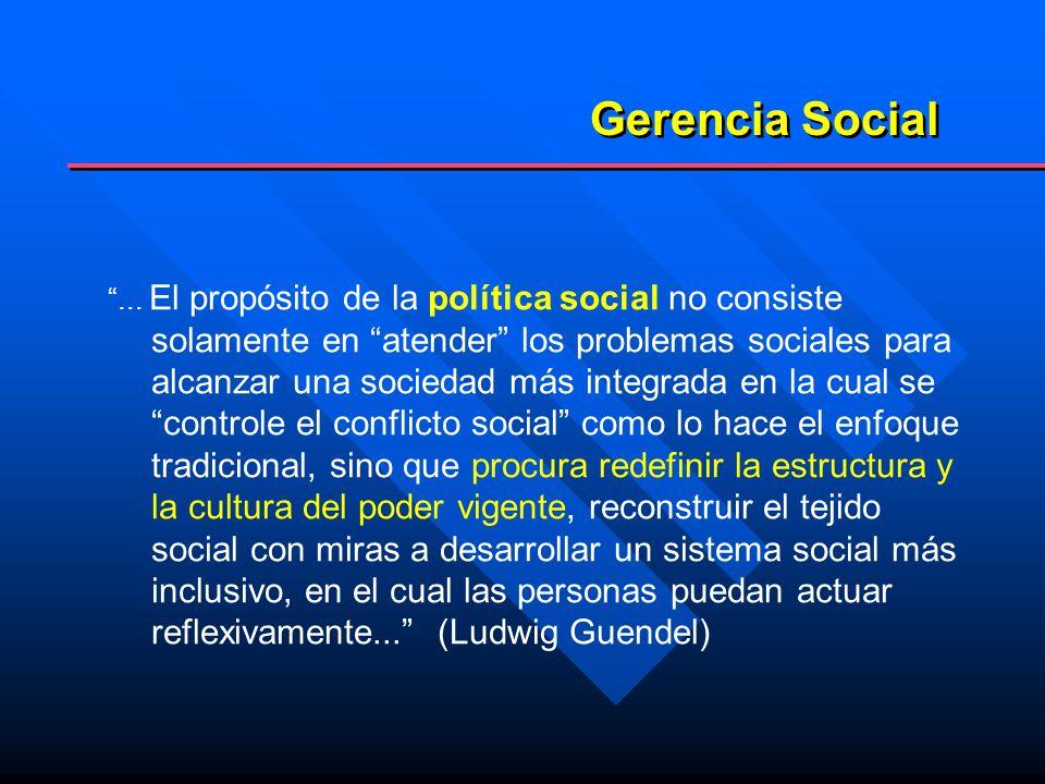 Gerencia Social Campo de conocimiento Campo de acción Este nuevo paradigma que parece conformarse en relación a la política social, exige una revisión de la GERENCIA SOCIAL como: