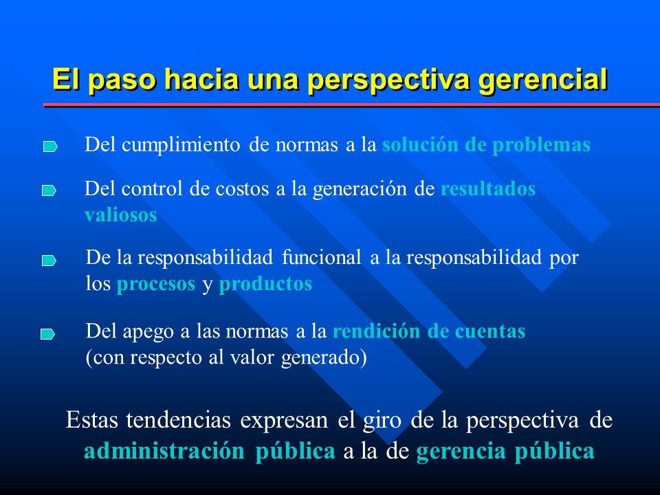 La perspectiva gerencial pone énfasis en solucionar aquellos problemas que los ciudadanos/usuarios consideran importantes Solucionando problemas...