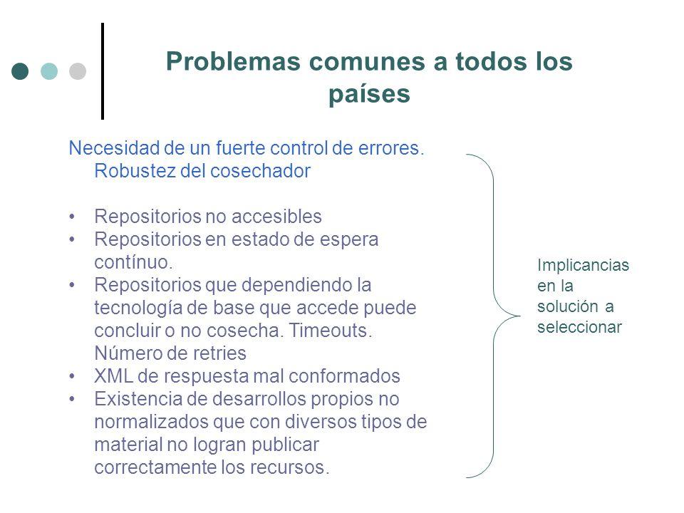 Problemas comunes a todos los países Necesidad de un fuerte control de errores.