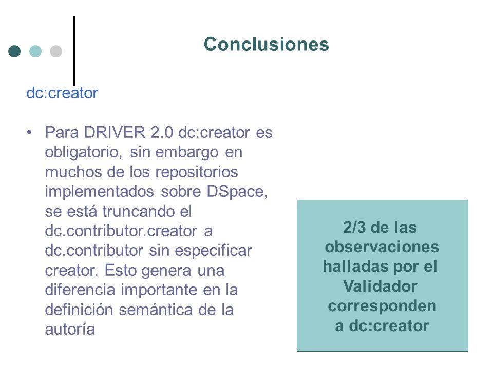 Conclusiones dc:creator Para DRIVER 2.0 dc:creator es obligatorio, sin embargo en muchos de los repositorios implementados sobre DSpace, se está truncando el dc.contributor.creator a dc.contributor sin especificar creator.