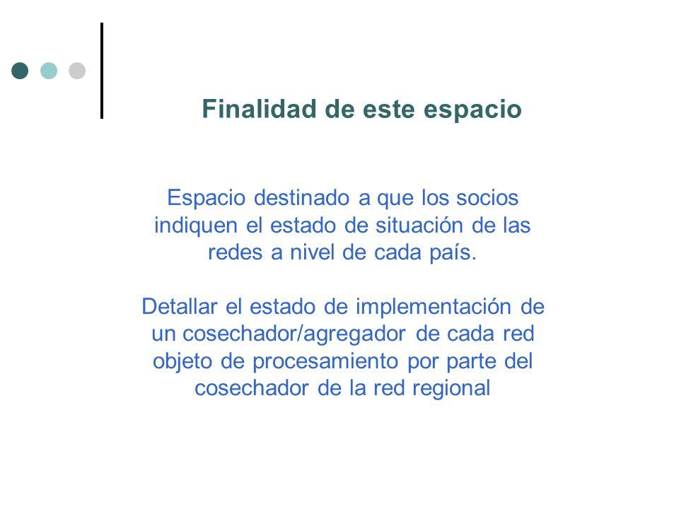 Finalidad de este espacio Espacio destinado a que los socios indiquen el estado de situación de las redes a nivel de cada país.