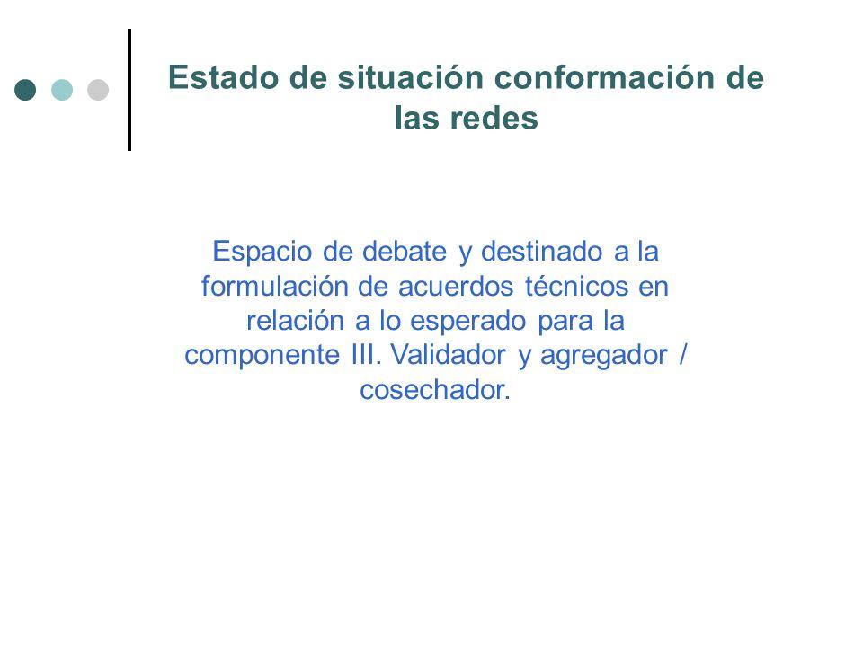 Estado de situación conformación de las redes Espacio de debate y destinado a la formulación de acuerdos técnicos en relación a lo esperado para la componente III.