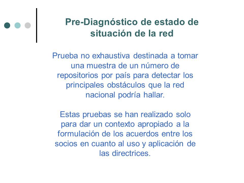 Pre-Diagnóstico de estado de situación de la red Prueba no exhaustiva destinada a tomar una muestra de un número de repositorios por país para detectar los principales obstáculos que la red nacional podría hallar.