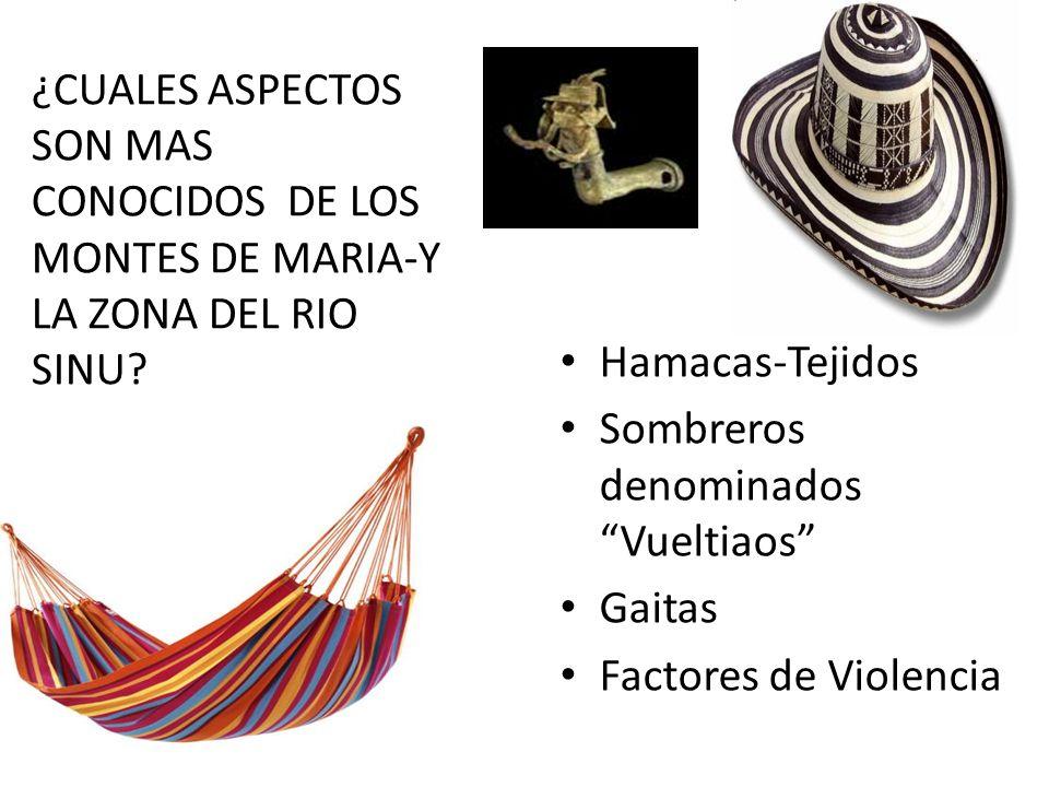 ¿CUALES ASPECTOS SON MAS CONOCIDOS DE LOS MONTES DE MARIA-Y LA ZONA DEL RIO SINU.