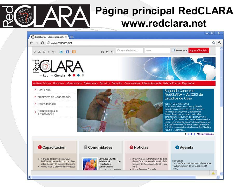 Página principal RedCLARA www.redclara.net
