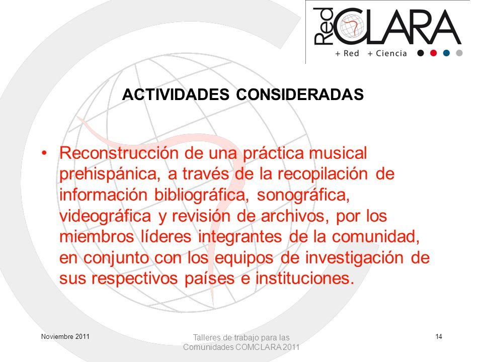 ACTIVIDADES CONSIDERADAS Reconstrucción de una práctica musical prehispánica, a través de la recopilación de información bibliográfica, sonográfica, v