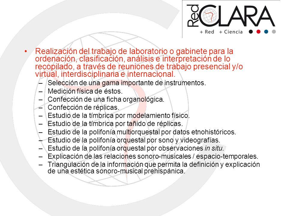 Realización del trabajo de laboratorio o gabinete para la ordenación, clasificación, análisis e interpretación de lo recopilado, a través de reuniones