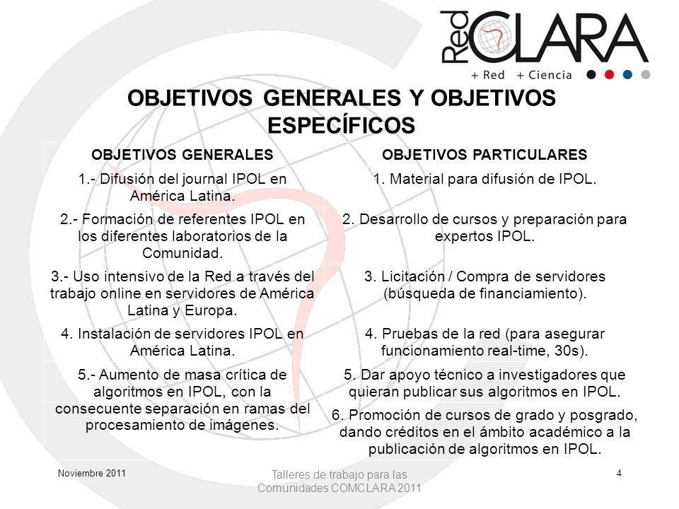 OBJETIVOS GENERALES Y OBJETIVOS ESPECÍFICOS Noviembre 2011 Talleres de trabajo para las Comunidades COMCLARA 2011 4 OBJETIVOS GENERALESOBJETIVOS PARTICULARES 1.- Difusión del journal IPOL en América Latina.