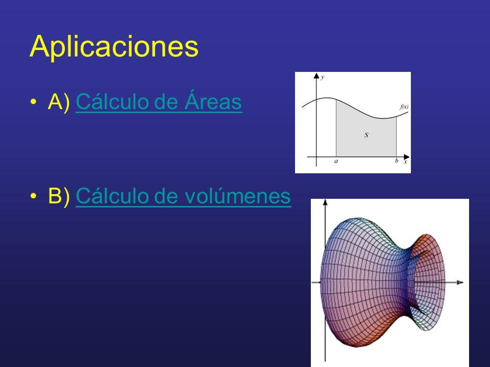 Aplicaciones A) Cálculo de Áreas B) Cálculo de volúmenes