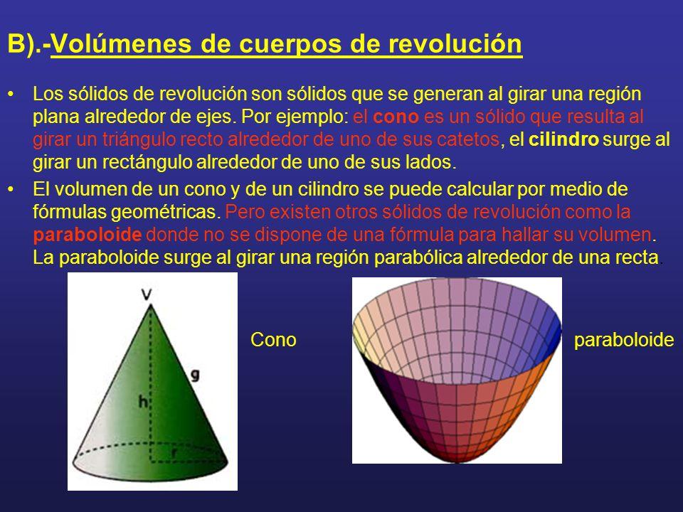 B).-Volúmenes de cuerpos de revolución Los sólidos de revolución son sólidos que se generan al girar una región plana alrededor de ejes. Por ejemplo: