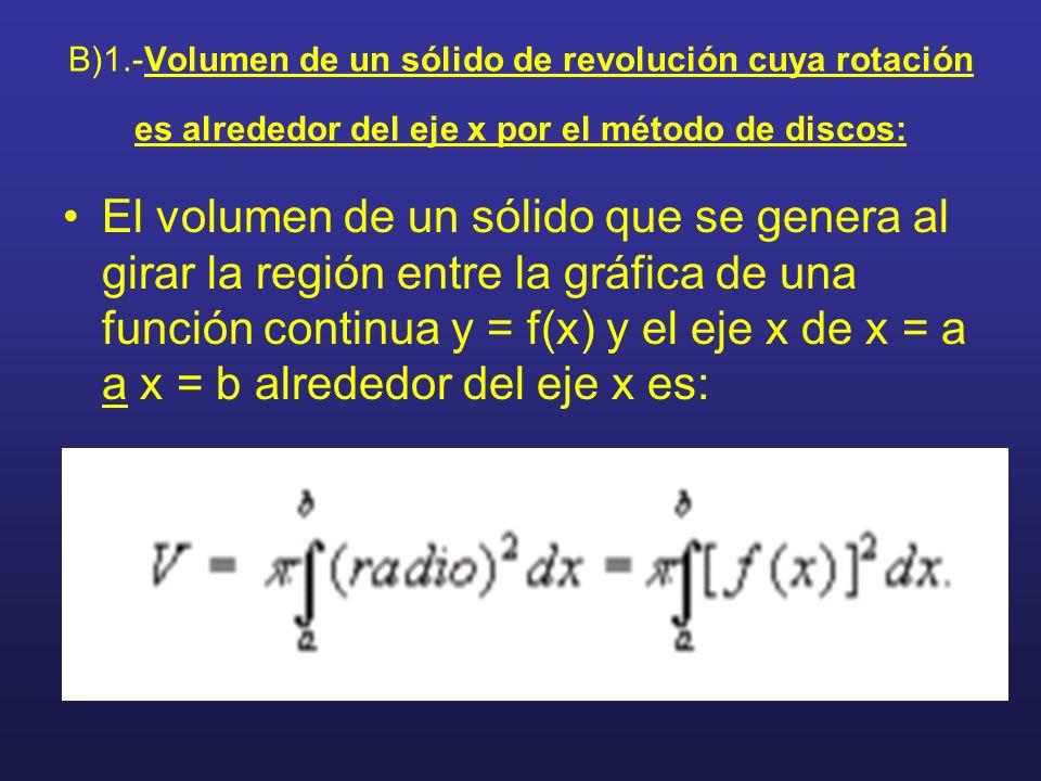 B)1.-Volumen de un sólido de revolución cuya rotación es alrededor del eje x por el método de discos: El volumen de un sólido que se genera al girar l