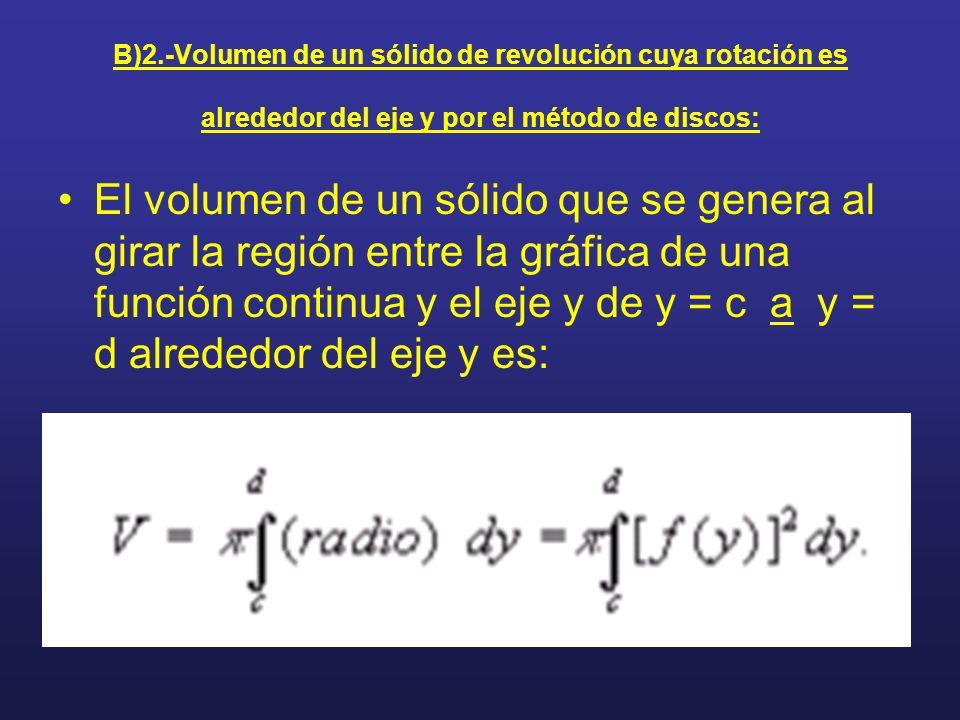 B)2.-Volumen de un sólido de revolución cuya rotación es alrededor del eje y por el método de discos: El volumen de un sólido que se genera al girar l
