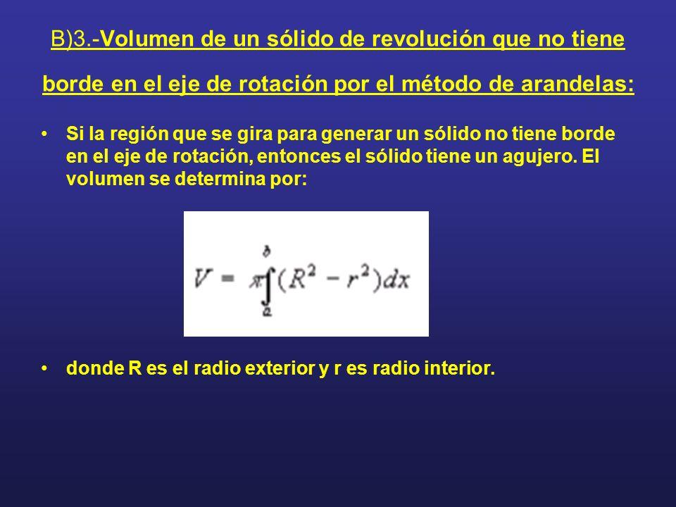 B)3.-Volumen de un sólido de revolución que no tiene borde en el eje de rotación por el método de arandelas: Si la región que se gira para generar un
