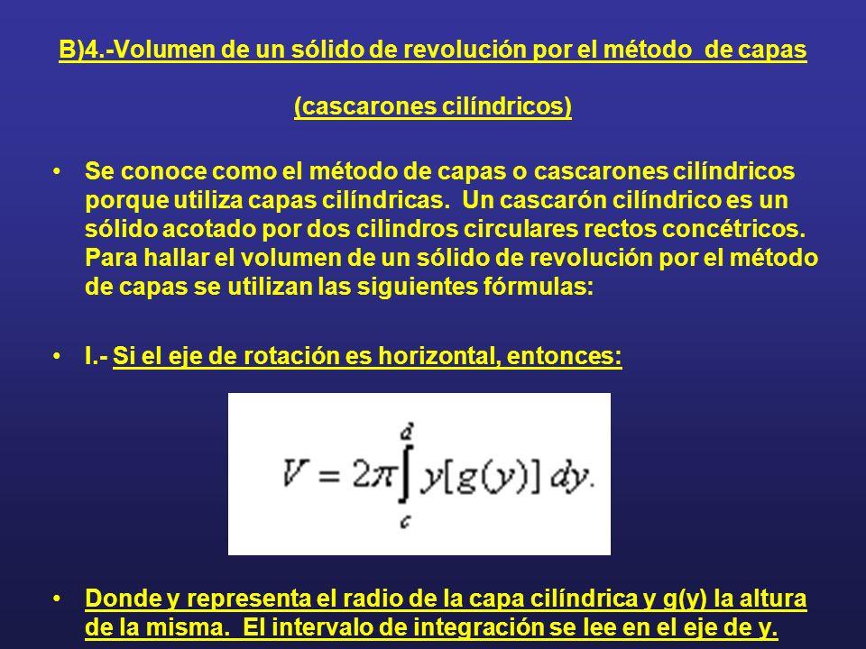 B)4.-Volumen de un sólido de revolución por el método de capas (cascarones cilíndricos) Se conoce como el método de capas o cascarones cilíndricos por