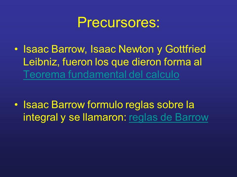 Precursores: Isaac Barrow, Isaac Newton y Gottfried Leibniz, fueron los que dieron forma al Teorema fundamental del calculo Isaac Barrow formulo regla