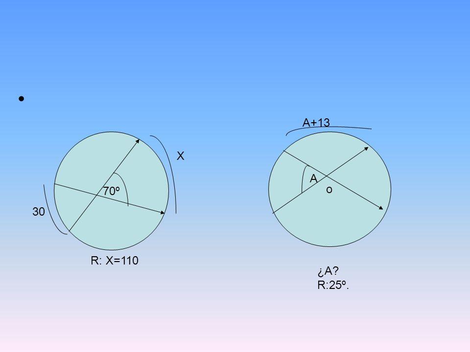 70º o X 30 R: X=110 A+13 A ¿A? R:25º.