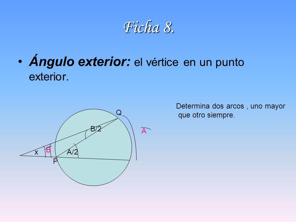 Ficha 8. Ángulo exterior: el vértice en un punto exterior. Determina dos arcos, uno mayor que otro siempre. P Q A B xA/2 B/2
