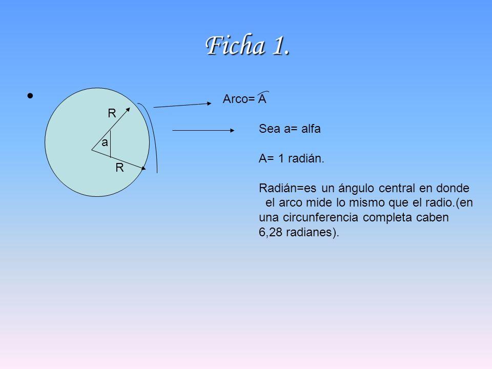 Ficha 1. a Sea a= alfa A= 1 radián. Radián=es un ángulo central en donde el arco mide lo mismo que el radio.(en una circunferencia completa caben 6,28