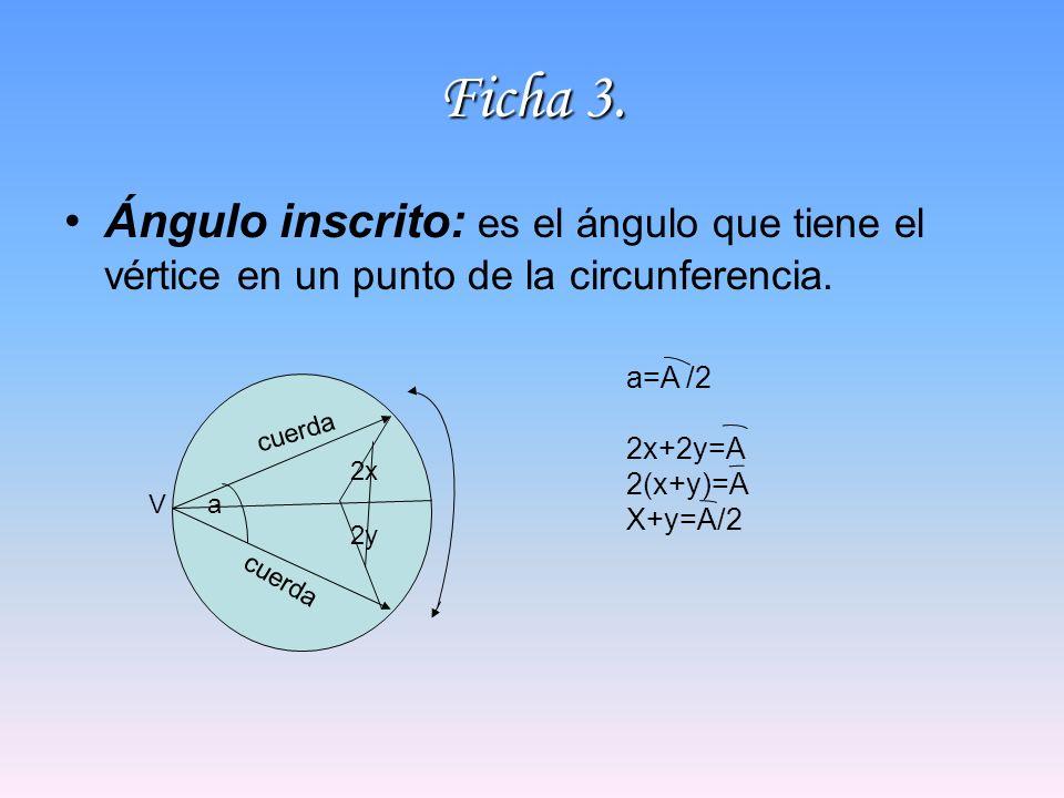 Ficha 3. Ángulo inscrito: es el ángulo que tiene el vértice en un punto de la circunferencia. aV cuerda 2x 2y a=A /2 2x+2y=A 2(x+y)=A X+y=A/2