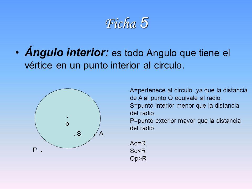 Ficha 5 Ángulo interior: es todo Angulo que tiene el vértice en un punto interior al circulo..o.o P.. A A=pertenece al circulo,ya que la distancia de