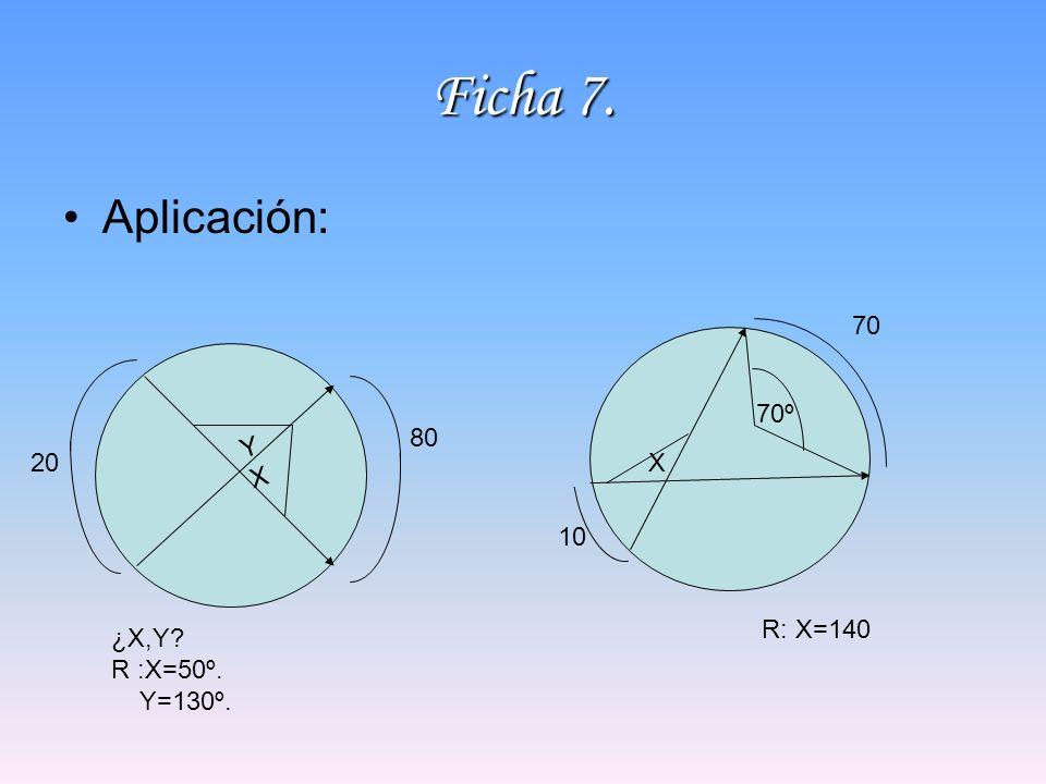 Ficha 7. Aplicación: YXYX 80 20 ¿X,Y? R :X=50º. Y=130º. X 70º 10 R: X=140 70