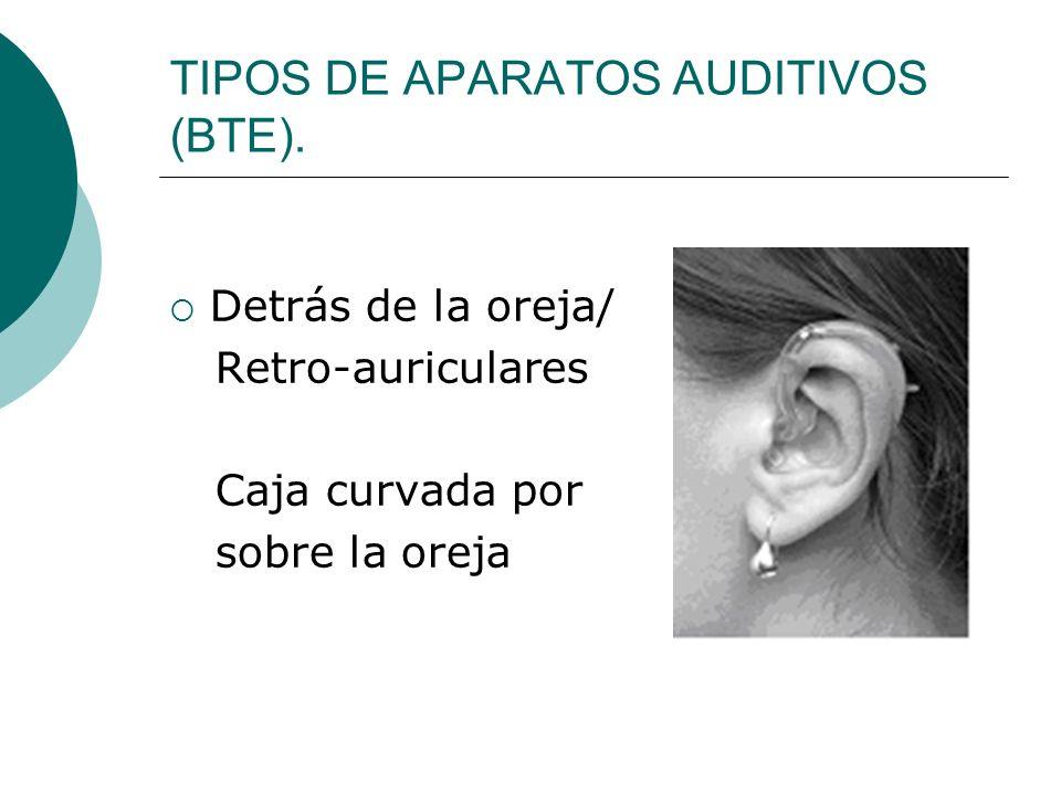 TIPOS DE APARATOS AUDITIVOS (BTE). Detrás de la oreja/ Retro-auriculares Caja curvada por sobre la oreja