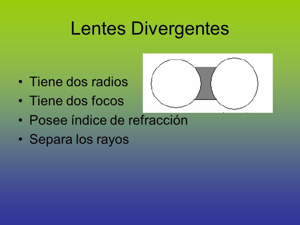 Lentes Divergentes Tiene dos radios Tiene dos focos Posee índice de refracción Separa los rayos
