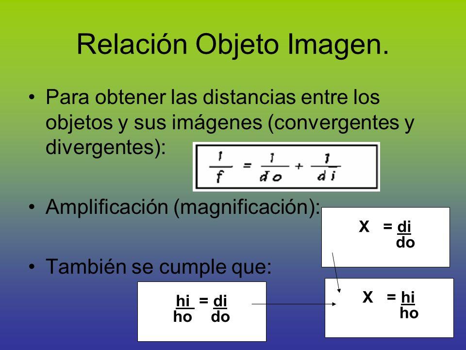 X = hi ho Relación Objeto Imagen. Para obtener las distancias entre los objetos y sus imágenes (convergentes y divergentes): Amplificación (magnificac