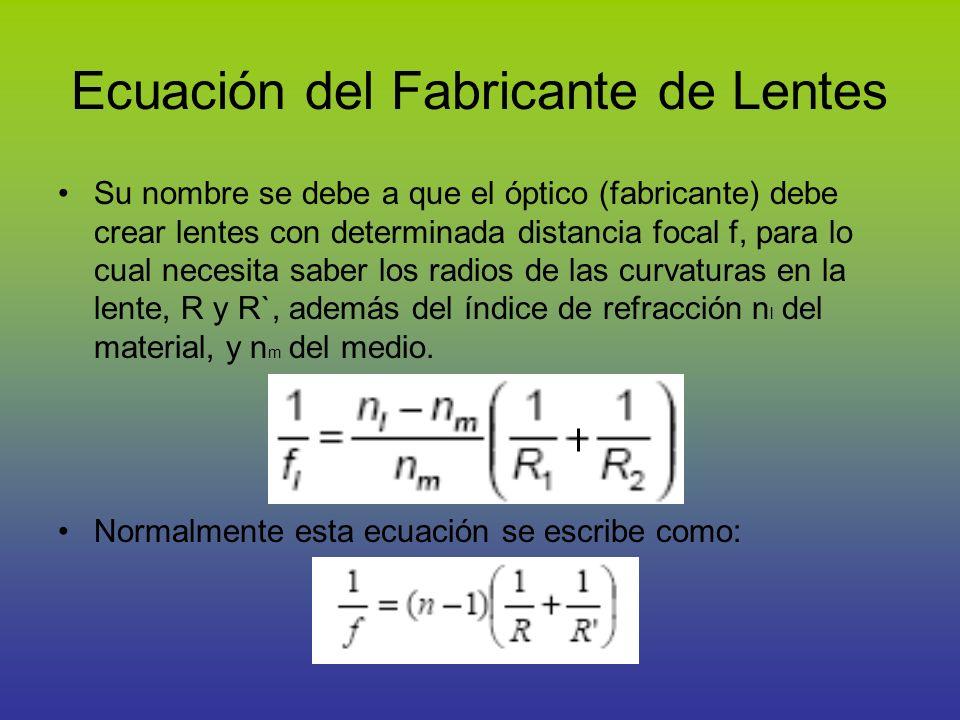 Ecuación del Fabricante de Lentes Su nombre se debe a que el óptico (fabricante) debe crear lentes con determinada distancia focal f, para lo cual nec