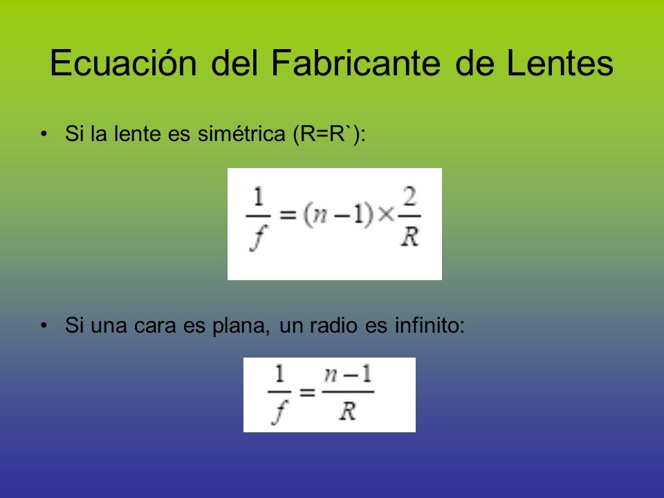 Ecuación del Fabricante de Lentes Si la lente es simétrica (R=R`): Si una cara es plana, un radio es infinito: