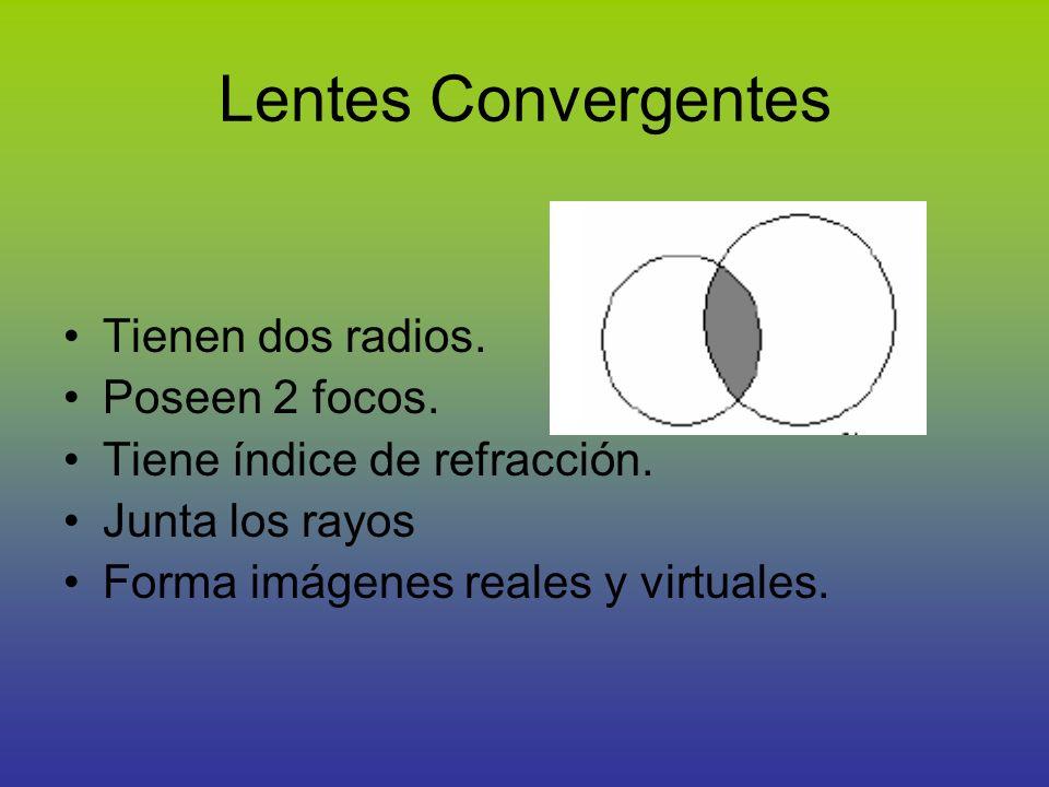 Lentes Convergentes Tienen dos radios. Poseen 2 focos. Tiene índice de refracción. Junta los rayos Forma imágenes reales y virtuales.