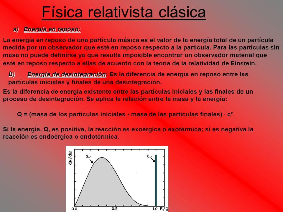 Física relativista clásica a)Energía en reposo: La energía en reposo de una partícula másica es el valor de la energía total de un partícula medida po