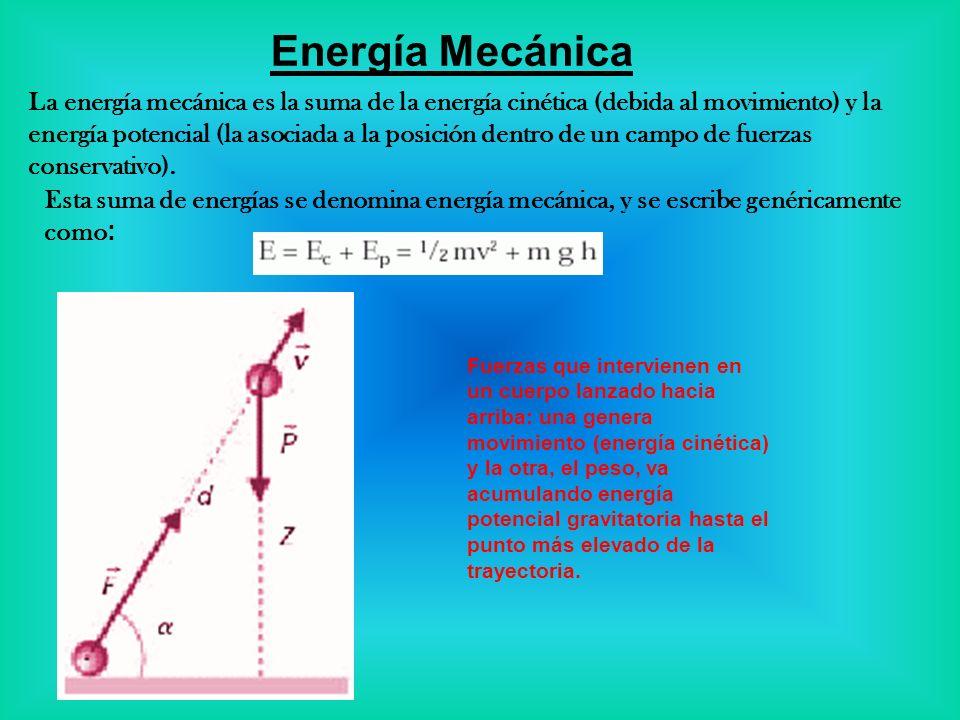 Energía Mecánica La energía mecánica es la suma de la energía cinética (debida al movimiento) y la energía potencial (la asociada a la posición dentro